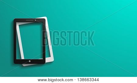 illustration of two tablets black and white color lying on blue background
