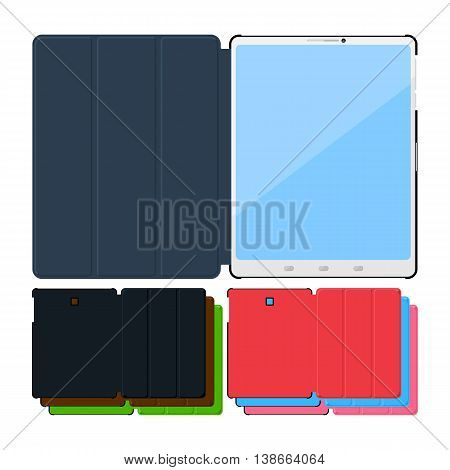 Set of colorful flat tablet pc cases. Black, leather, green, red, blue and pink.