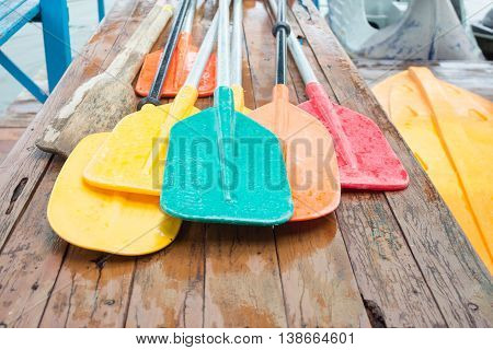 Set Of Colorful Oar And Paddles Of Kayak And Canoe Sport