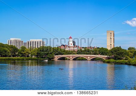 John W. Weeks Bridge With Clock Tower Over Charles River In Harvard University