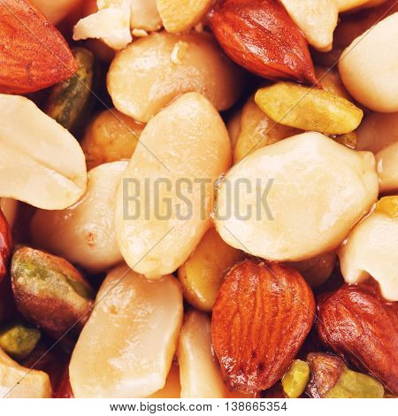 fresh oriental sweets with nuts, macro background