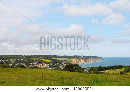 Panoramic view of village Etretat in Haute Normandie France