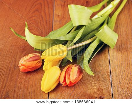 tulip flowers bouquet on brown wooden background