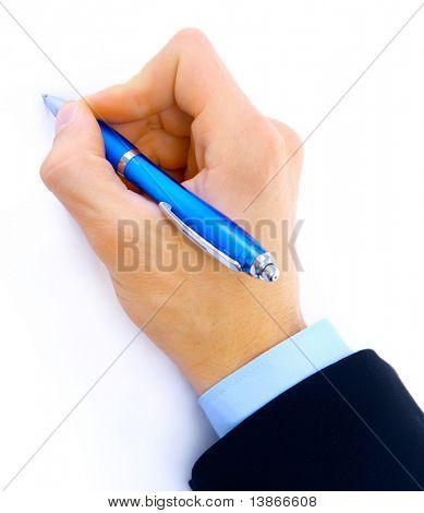 Nahaufnahme von Menschenhand mit Stift