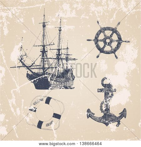 Vintage hand drawn ocean set with helm ship lifebuoy anchor in grunge style. Vector frame. sea label and silhouettes