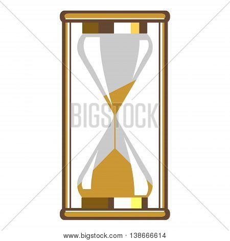 Vector Illustration Of Gold Hourglass, Isolated On The White Background