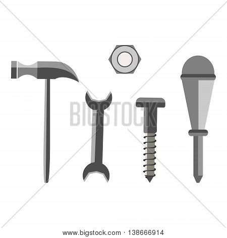 Vector Illustration Of Different Tools. Screw, Nut, Hammer, Wrench And Screwdriver, Isolated On The