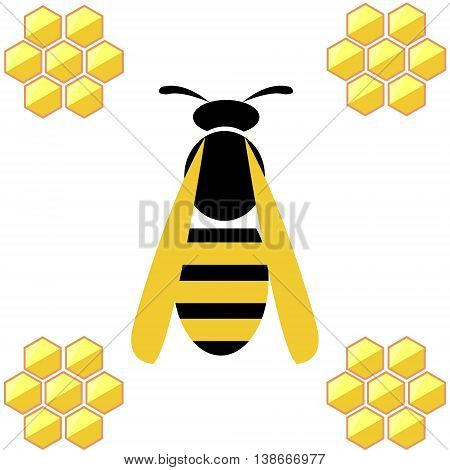 Vector Illustration. Wasp With Honeycombs, Isolated Over White Background
