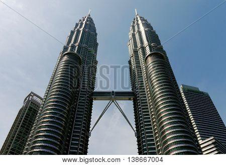 KUALA LUMPUR, MALAYSIA - JUNE 04, 2016 : View of the Petronas Twin Towers in Kuala Lumpur, Malaysia.