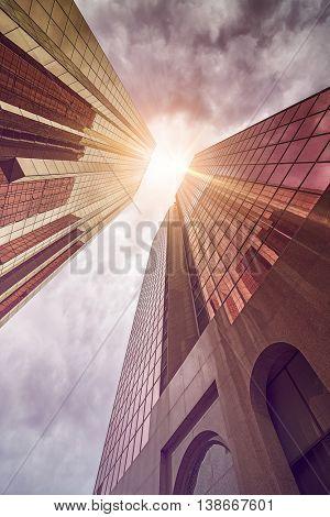 tall office buildings in the evening sun, Dubai, UAE