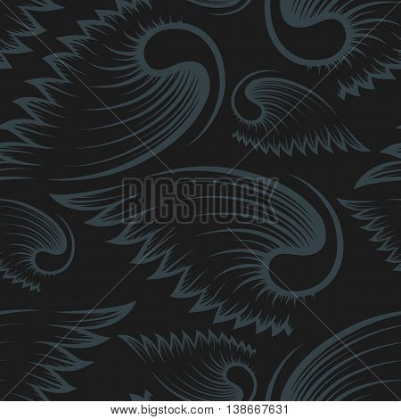 Black and grey seamless pattern with wings.