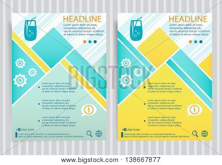Cocktail Glass With Drinking Straw Symbol On Vector Brochure Flyer Design Layout Template
