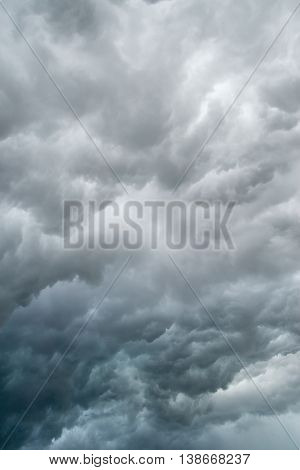 Dark gray storm clouds before a thunderstorm. Nature and global warming background.