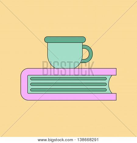 flat icon with thin lines book cup