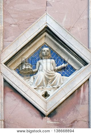 FLORENCE, ITALY - JUNE 05: Luna by Collaborator of Andrea Pisano (Master of Luna), 1337-41., Relief on Giotto Campanile of Cattedrale di Santa Maria del Fiore, Florence, Italy on June 05, 2015