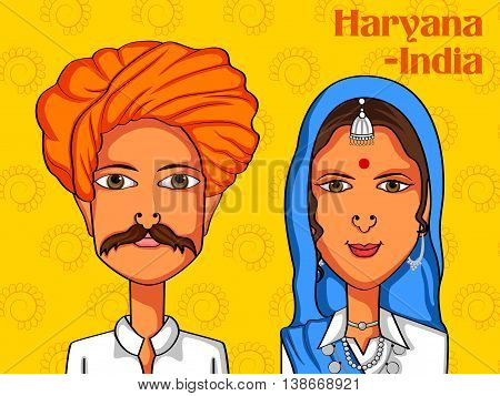 Vector design of Haryanvi Couple in traditional costume of Haryana, India