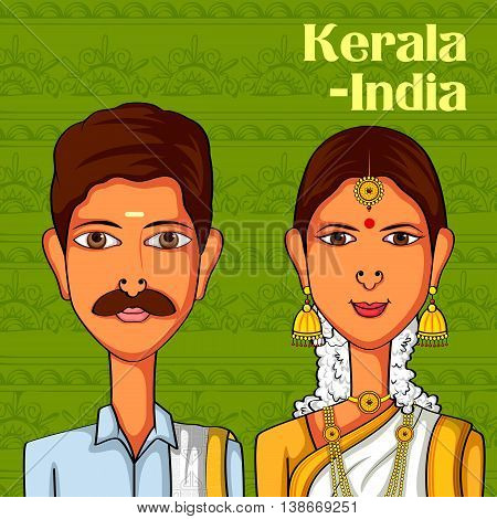 Vector design of Keralite Couple in traditional costume of Kerala, India