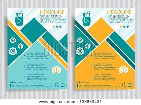 Cocktail Glass With Drinking Straw  Web Symbol On Vector Brochure Flyer Design Layout Template
