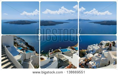 The set from views in Oia at Santorini, Greece