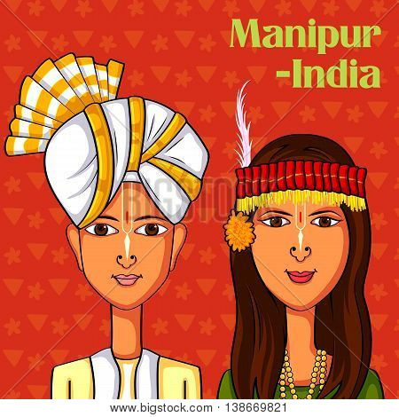 Vector design of Manipuri Couple in traditional costume of Manipur, India