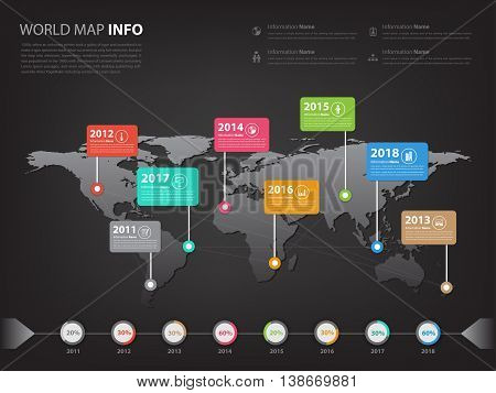 Worldwide map infographic for business presentation and slideshow (Vector eps10)