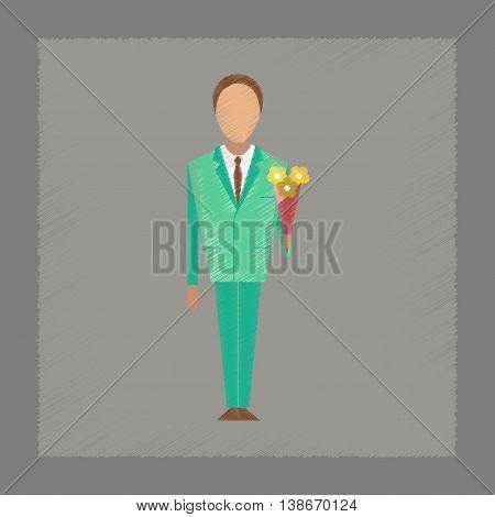flat shading style icon Cartoon schoolboy flowers