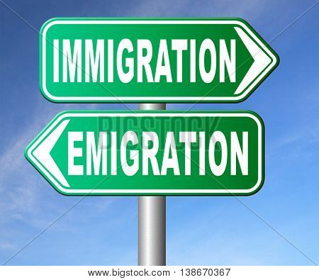 immigration or emigration political or economic migration by refugees or moving across the border by economic migrants sign 3D illustration, isolated,