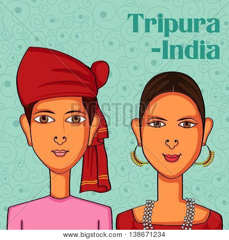 Vector design of Tripuri Couple in traditional costume of Tripura, India