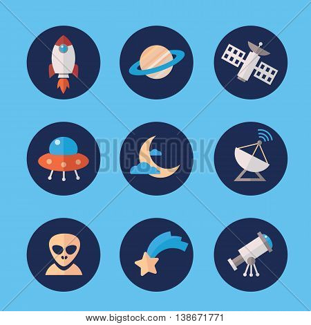 Space icons set in flat style. Rocket Saturn satellite ufo moon transmitter alien star telescope. Cosmos exploration elements vector collection