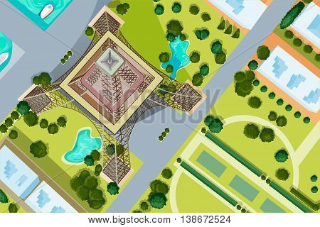 Vector design of birds eye view of Eiffel Tower