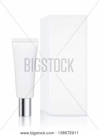 Tube container small size with silver cap and white box isolated on white background, Ideal for mock up packaging.