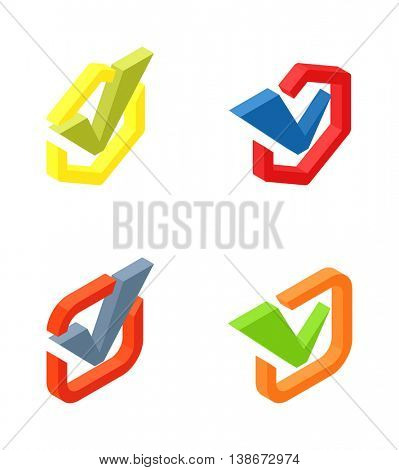 Check vote icons vector set.