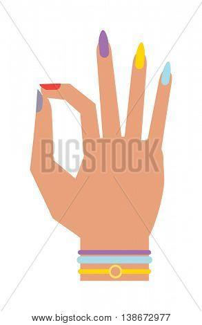 Silhouette hand showing symbol Ok vector illustration.