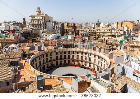Aerial View Of Plaza Redonda, Round Square,  In Valencia, Spain