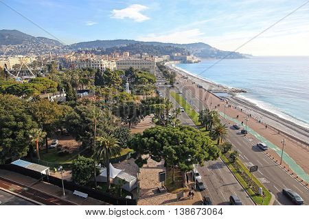 NICE FRANCE - JANUARY 20: Aerial Cityscape of Nice on JANUARY 20 2012. Aerial photo of Promenade at French Riviera in Nice France.