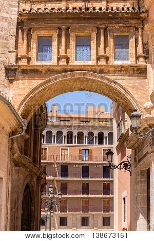 A Renaissance Arch That  Leads From The  Lady Of The Abandoned Basilica On Plaza De La Virgen To Val