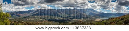 Panoramic View Of Regino Valley In Balagne Region Of Corsica