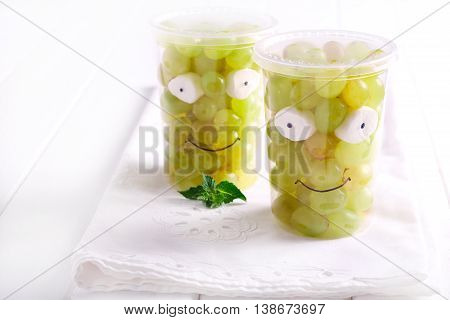 Grapes in cups decorated Little Frankies - healthy kids snack