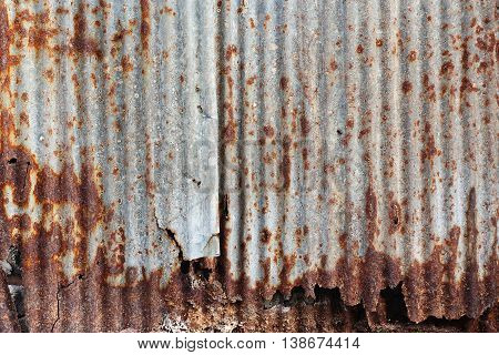 zinc rust Old damage rusty zinc plat wall
