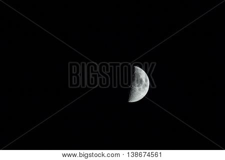 The silver half moon isolated on black. .