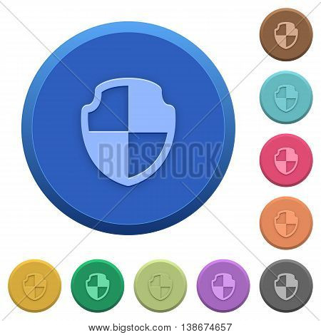 Set of round color embossed shield buttons