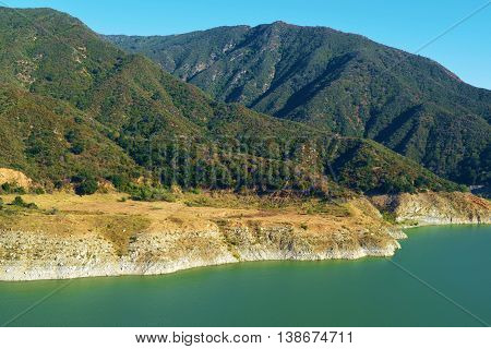 Low water levels caused by the California Drought taken at Morris Reservoir in the San Gabriel River, CA