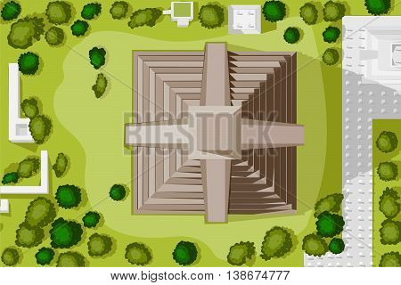 Vector design of birds eye view of Chichen Itza