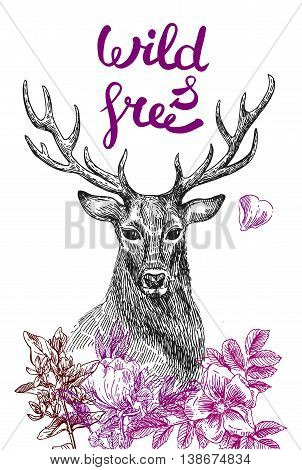 Boho Style hand drawn poster with deer and flowers. Vector illustration.