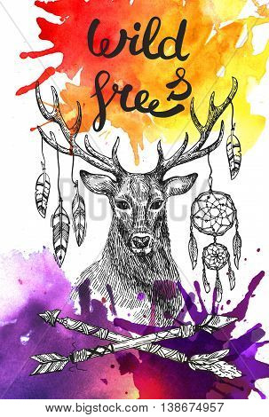 Boho Style hand drawn poster with deer and feathers and arrows. Use for t-shirt prints, posters,  wedding, postcards.