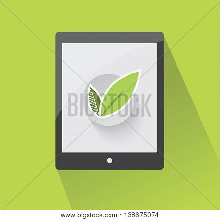 Ecological vector design element with tablet and leaves. Environmental conservation concept.