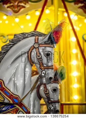 merry-go-round wooden horses
