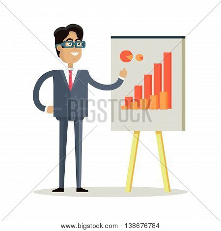 Business man with black hair in business suit and tie making a presentation in front of whiteboard with infographics. Smiling young man personage in flat design isolated on white background.