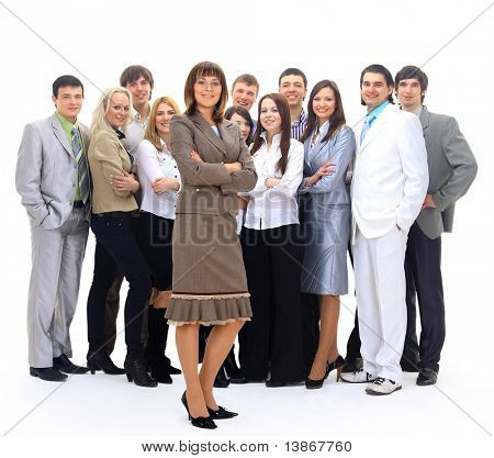 Visionary young business group - business woman with his colleagues in the background