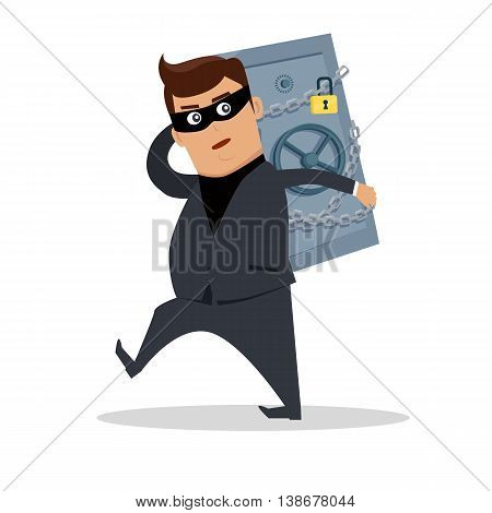 Money stealing concept vector. Flat design. Financial crime, tax evasion, money laundering, political corruption illustration. Robbery. Man in a business suit, in mask carrying a safe on his back.